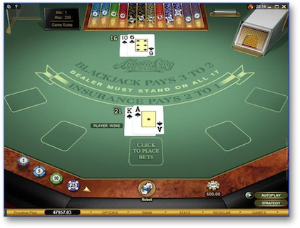 Playing Internet BlackJack