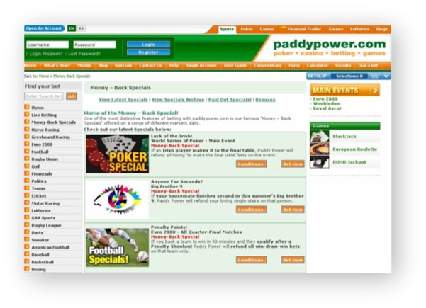 Paddy Power Website